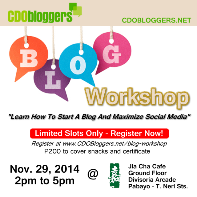 An Invitation to a Blog and Social Media Workshop this November 29